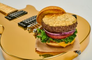 14K Gold Leaf Burger on Gold Guitar