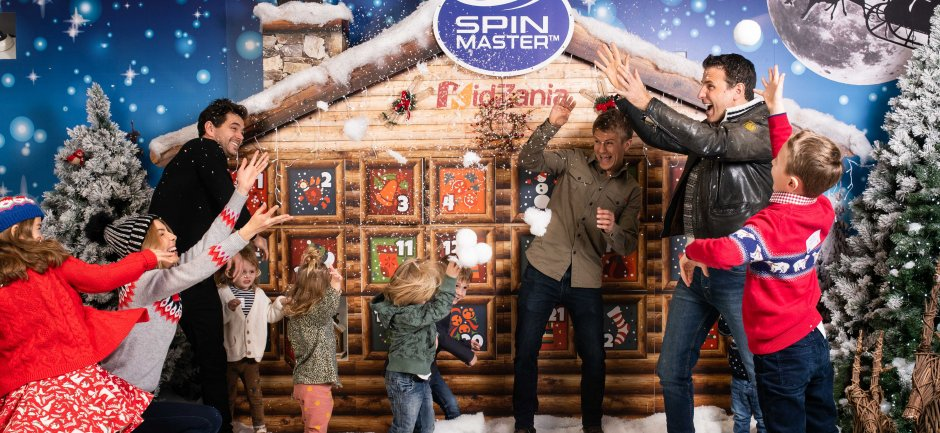 BBC Casualty's Michael Stevenson, Jason Durr and George Rainsford and their children have fun at the Spin Master Charity Advent Calendar at KidZania