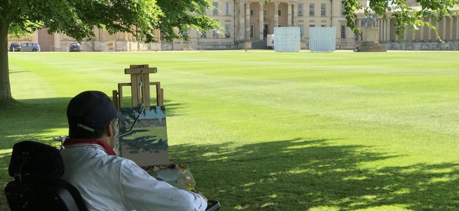 Keith Jansz painting outside Stowe School, Buckinghamshire